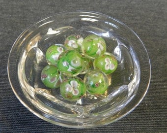 Set of 10 Round Green Floral Lampwork Glass Beads - 12-15mm - Pink & Purple Flowers