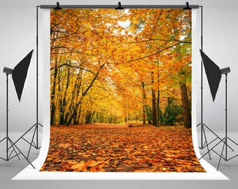 Autumn Forest Photography Backdrops Falling Maple Leaf Photo Backgrounds for Nature Landscape Studio Props