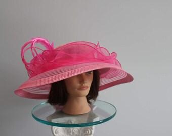 "Hot Pink Kentucky Derby Hat-""Curls and Swirls"""