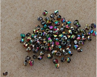 FIRE POLISH Beads, True 2mm, Etched Full Vitrail, 00030/28183, sold in units of 100 beads.