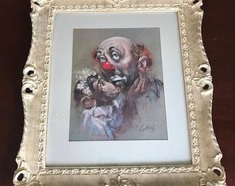 Clown Framed Print by Artist Cydney Gossman, The Sad Clown Signed Cydney in Original Vintage Frame, Circus Clown Art