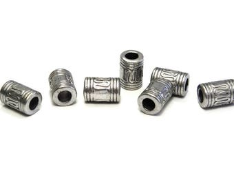 10 pc Tibetan Style Metal Tube Beads, Large Hole Cylinder Metal Beads 10mm - Antique Silver