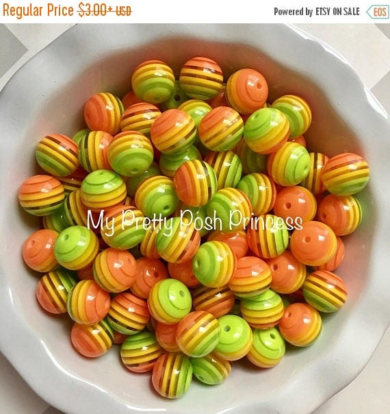 MEMORIAL SALE 20mm Yellow, Green, & Orange Ombre Striped Chunky Bubble Gum Beads Set of 10