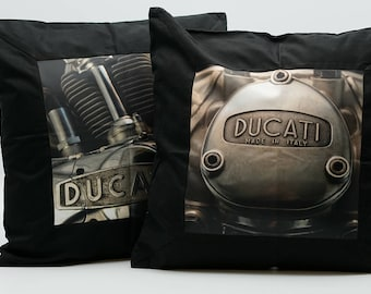 Ducati Throw Pillow Covers, set of two, Black, Mechanical, Motorcycle