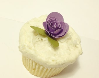 Purple Rose Cupcake Toothpicks (Set of 18)