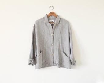 Vintage 90s FLAX jacket / Oversize slouchy jacket