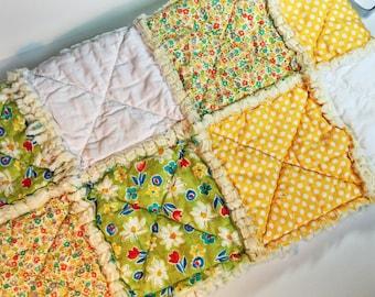Rag quilt, baby quilt, yellow green white quilt, boy or girl rag quilt, shabby chic quilt, stroller quilt, car seat quilt