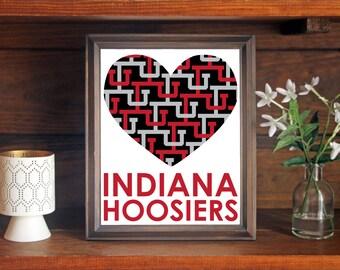 Indiana University IU Hoosiers Heart Print