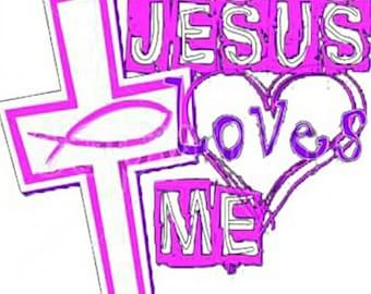 Sweet Pink Jesus Loves Me Heat Transfer Vinyl Decal.  Must be applied with heat press