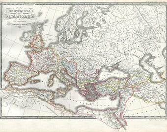 Roman Empire Map Etsy - Rome empire map