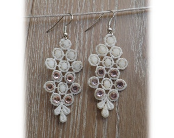 "White chandelier lace Earrings ""Ice wine"" - lace earrings - unique boho jewelry"