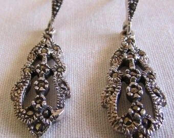 Sterling Silver and Marcasite Dangle Post Earrings