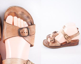 Vintage 70s Wooden Platform Shoes, 70s Shoes, Wedge Sandals, Chunky Heel Sandals, Brown Leather Sandals, Bohemian Sandals, Hippie Shoes