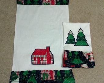 Vintage style Christmas tea towels.