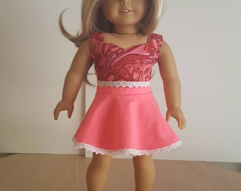 """Crop Top & Circle Skirt For American Girl Doll Or Any Other 18"""" Soft-Bodied Doll"""