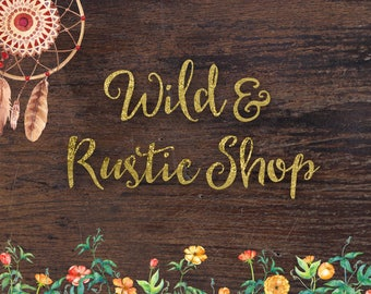 Wild and rustic premade etsy shop set banner, cover, avatar for handmade business, wood etsy kit, boho branding with floral frame