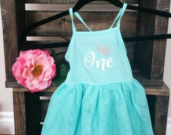 First birthday mint tutu dress. One. Silver sparkle crown. Ready to ship.