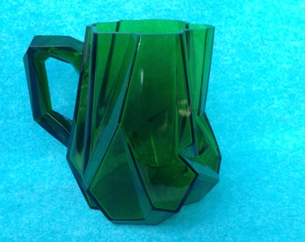 "Consolidated Glass Art Deco Ruba Rombic 8 1/4"" Water Pitcher Jungle Green Reuben Haley"