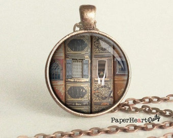 Library Necklace - Library Photo - Old Books Necklace - Reader Necklace  - (B3351)