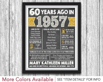 The Year You Were Born Chalkboard Poster - Printable 60th Birthday Poster - Personalized Digital File - ANY YEAR & AGE