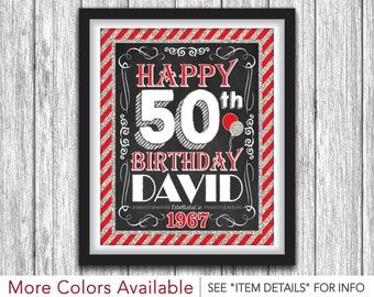 "50th Birthday Party Sign - Printable Happy 50th Birthday Party Decorations - 8""x10"" Welcome Sign - DIY Digital File"