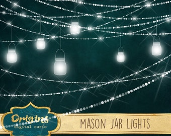 Mason Jar Lights Clipart, sparkling wedding fairy lights clip art, png mason jar graphics, glowing rustic magic garden digital download