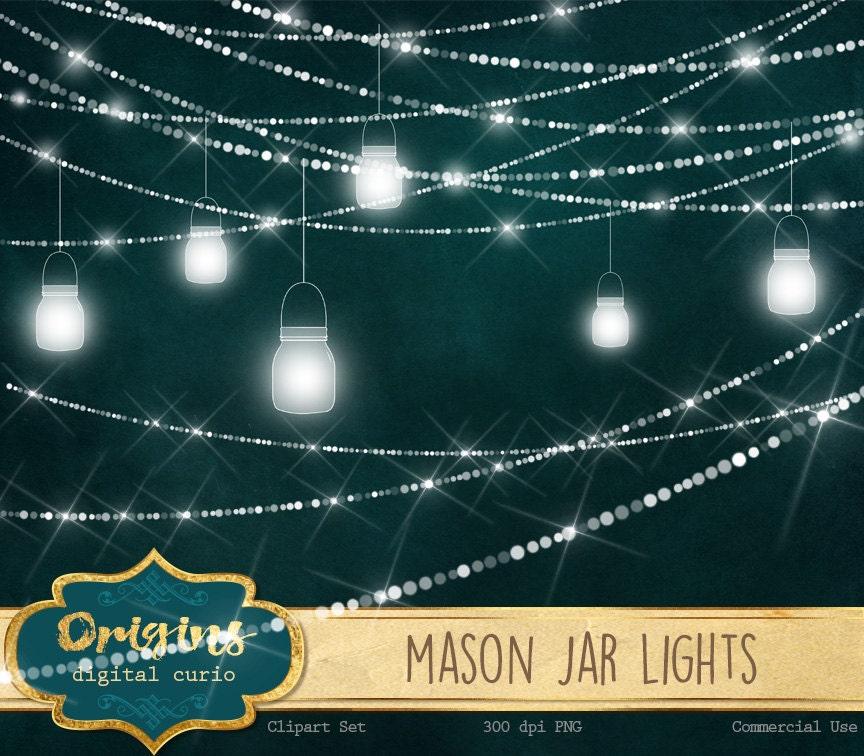 Mason Jar Lights Clipart, sparkling wedding fairy lights clip art, png mason jar graphics ...