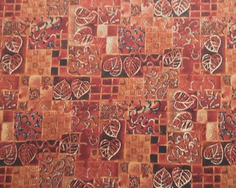 "Rust Leaf Fabric - Robert Kaufman 867 - 100% Cotton - 34"" x 44"""