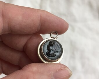 Glass Cameo Sterling Pendant or Charm -- 331