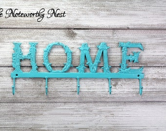"CLEARANCE: LARGE 17"" Aqua Home Sign // Iron Home Sign // Home Hook // Key Hook // Key Holder // Shabby Chic // Metal home //"