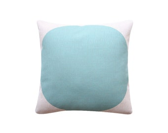"""Large Circle Decorative Cushion, 18""""x18"""" Pillow Cover, Tuquoise Mint Dot Cushion, Throw Cushion Cover, Accent Pillow 200"""
