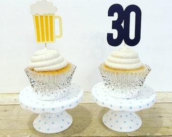 "Beer Mug and ""30"" Cupcake Toppers / Cheers & Beers / Cheers to 30 Years / Beer Theme Birthday / Set of 12"