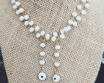 White Evil Eye Y-Necklace