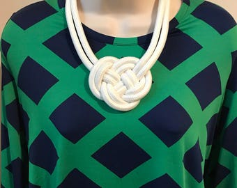 White Nautical Rope Knot Statement Necklace