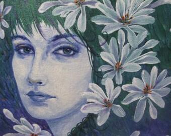 Small Original Acrylic Painting Flower Girl