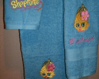 Pineapple Kid Shopkins Personalized Bath, Hand Towel  & washcloth Personalized Towel Set