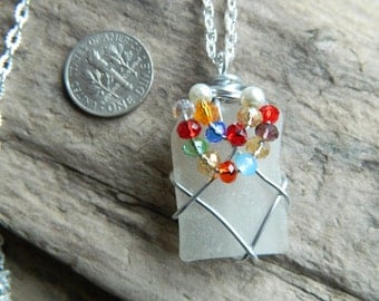Wire wrapped sea glass necklace with beads