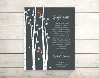 Godparents Baptism Gift | Godparents Thank You | Gift From Goddaughter Godson | Christening Gift For Godparents - 36577