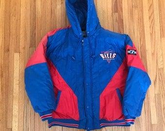 Vintage 90s Buffalo Bills Logo 7 Winter Parka Jacket. Size XL