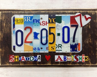 10 Year Anniversary Gift - Recycled License Plate Art - High Quality - Gift for Men - Men Anniversary Gift - Tin Anniversary - Wedding Date