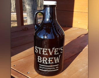 Personalized Mini Beer Growler - Custom Beer Growler 32oz- Personalized Growler Engraved- Amber Color Libbey Brand Small Growler