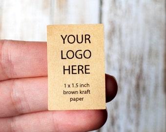 1 inch x 1.5 inch rectangle brown kraft paper sticker digital printing