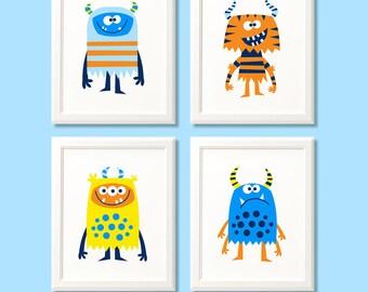Monster print set, boys monster print set, monster art, monster nursery prints, boys bedroom, kids room, monster decor, monster nursery