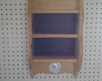 Knick  Knack  Pine Shelf, One Of A Kind, Clock