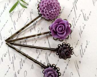 Mulberry Floral And Chocolate Hair Clips