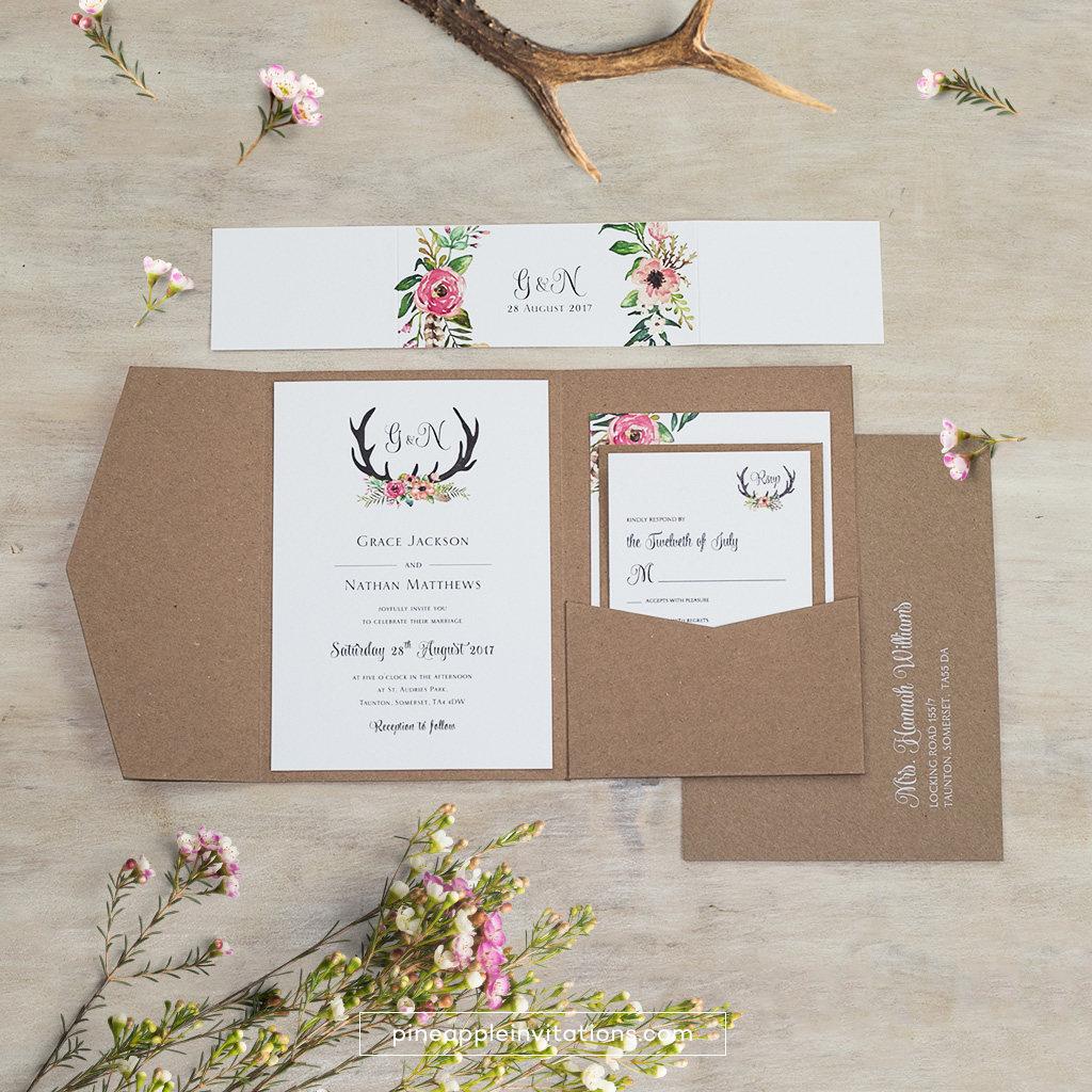 Eco Kraft Pocketfold Floral Antler I Wedding Invitation - Pocketfold ...
