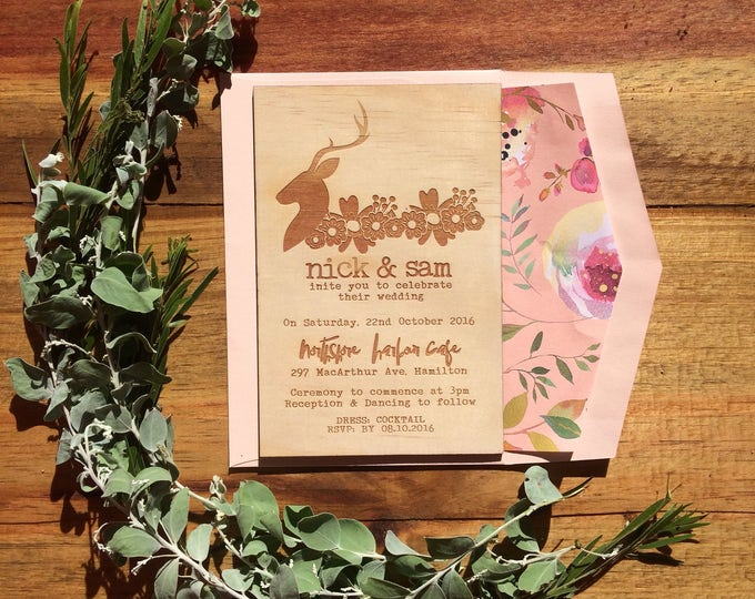 Wedding Invites. -Limited Edition Wood invitation and rustic florals lined envelope set- Stag wedding invitation. 10 pack