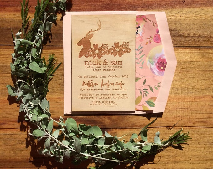 Wooden wedding invitation. -Limited Edition Wood invitation and rustic florals lined envelope set- Stag wedding invitation. 10 pack