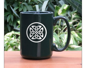 Celtic Coffee Mug / 15 oz Celtic Knot Coffee Mug / Engraved Large Tea Cup / Ceramic Coffee Mug / Hot Chocolate Mug / Celtic Tea Mug