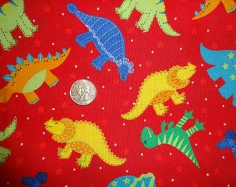 Dinosaur Stegosaurus T-Rex Triceratops Cotton Quilting Fabric BTY by the yard